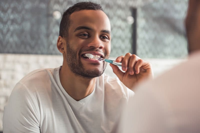 dental patient brushing teeth