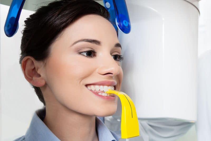 dental patient undergoing cbct scan