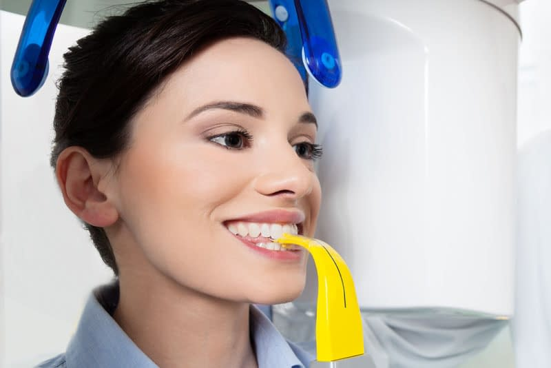 dental patient undergoing cbct scan